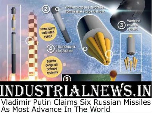Vladimir Putin Claims Six Russian Missiles As Most Advance in The World